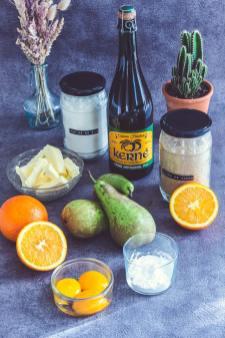 ingrédients de la tarte kerné, orange, poire, sucre, cidre, oeufs