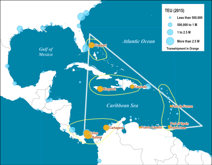 Container Port Traffic and Transshipment Traffic around the Caribbean Basin, 2015
