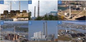 Examples of coal powered plants in ports