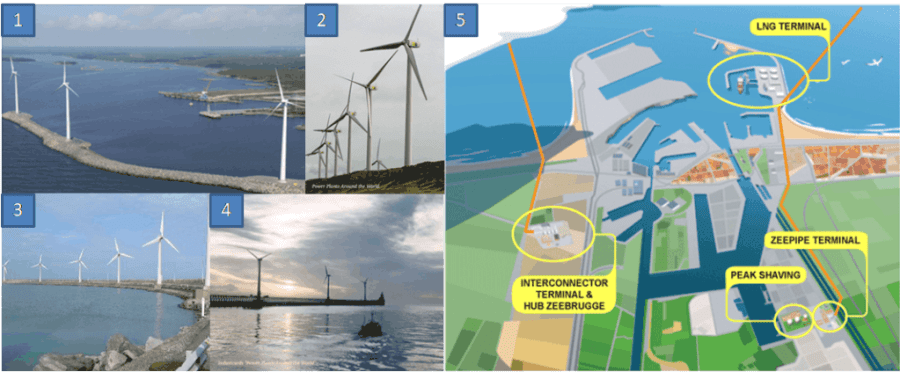 Examples of windfarms and gas terninals in ports