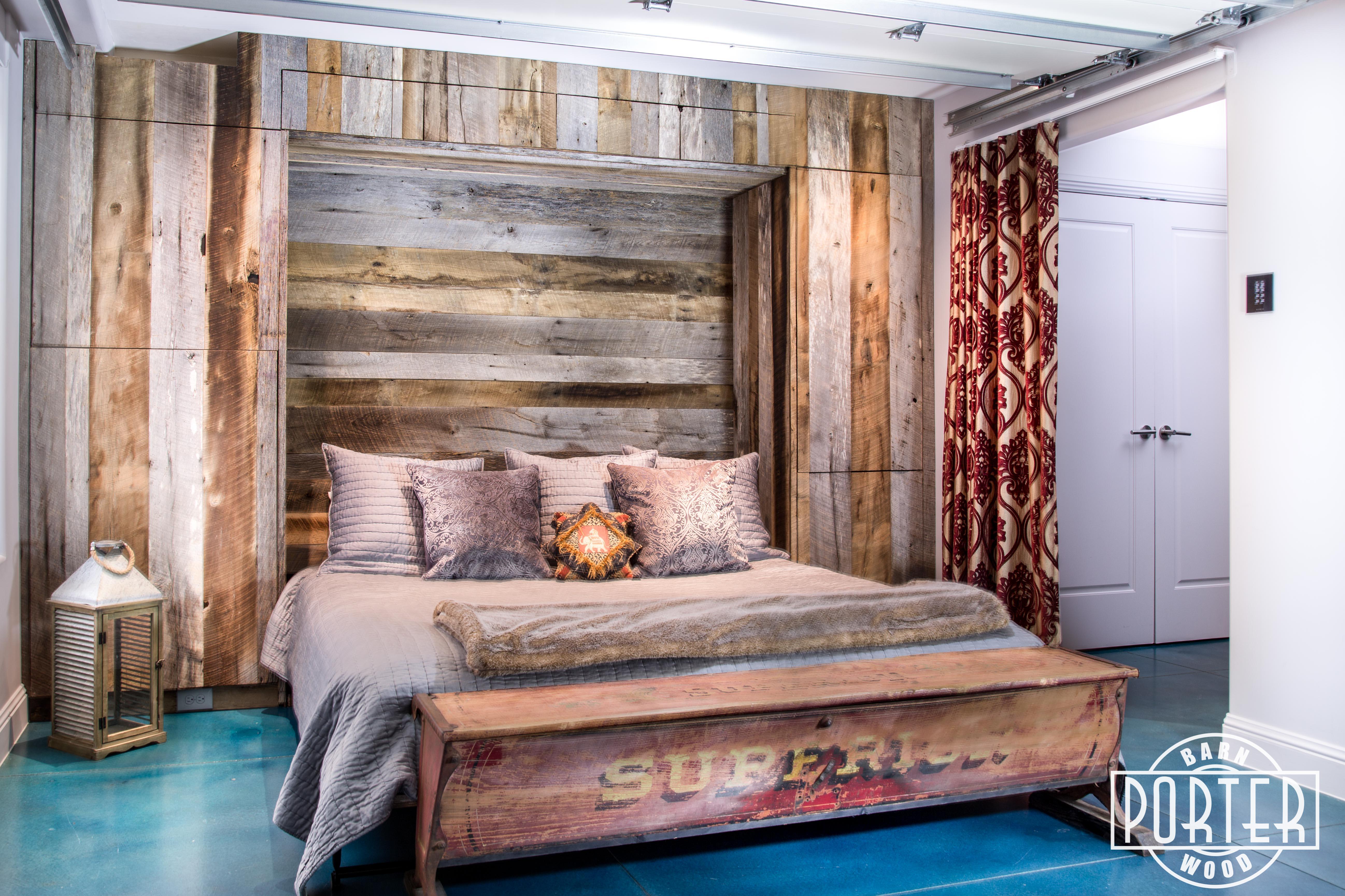 Mixed Tobacco Barn Grey Brown Wood Wall Murphy Bed S