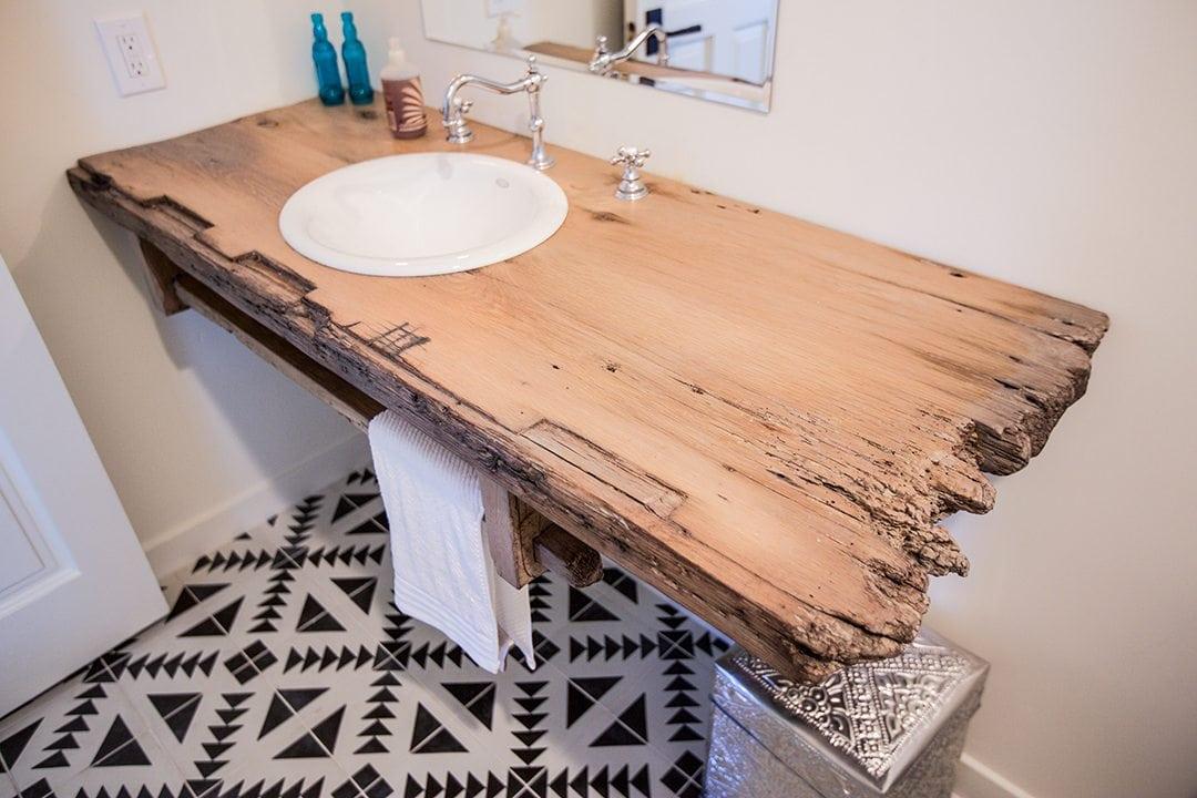 floating reclaimed wood bathroom sink