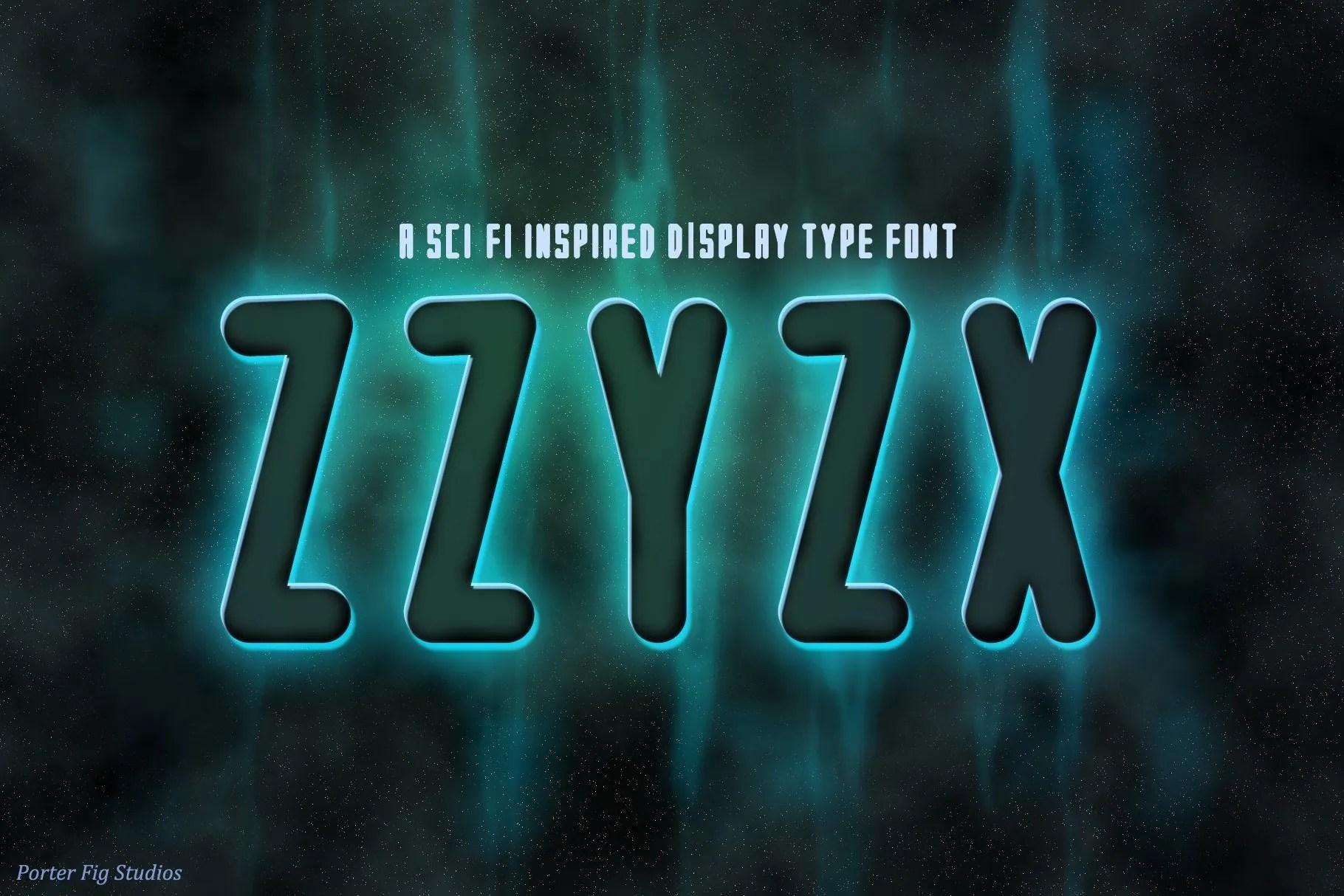 ZZyZx sci-fi font by Porter Fig Studios
