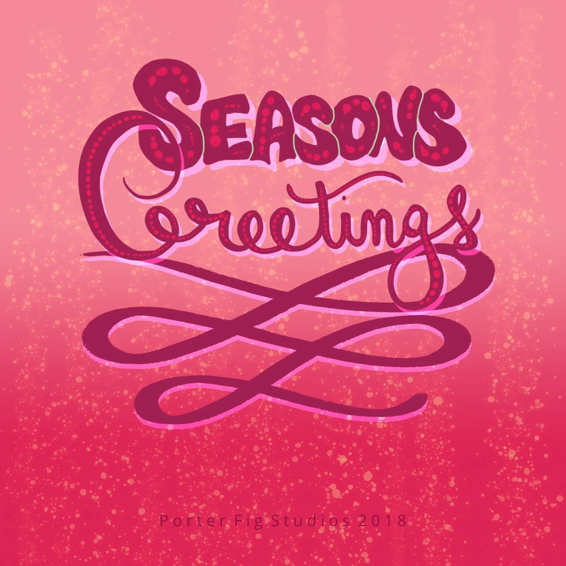 Hand lettered seasons greetings