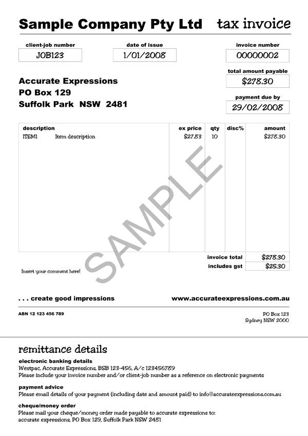 portfolio » accurate expressions » sample: custom myob form, Invoice examples