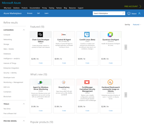 Accordion MWF filter applied to the Azure Marketplace info architecture, and some custom styling.