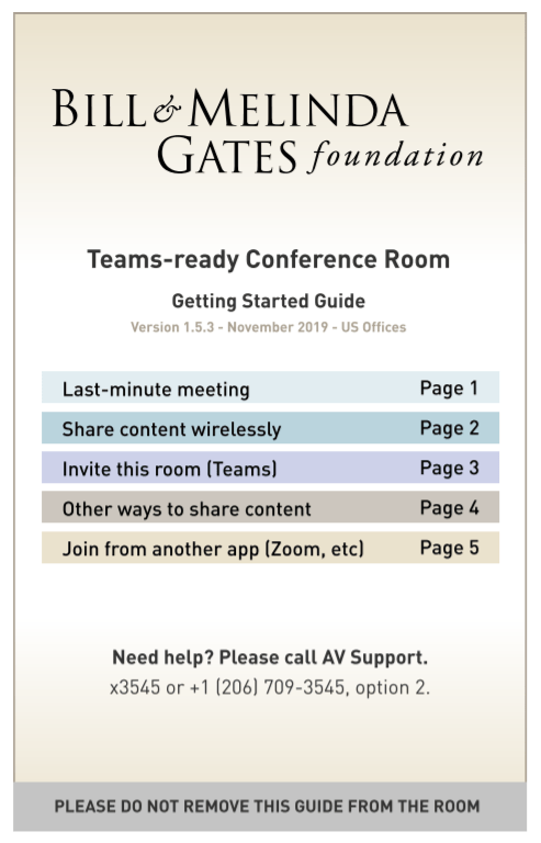 English language cover of the Gates in-room conference room guide