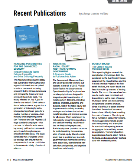 One page featuring three past publications with summaries
