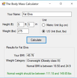 Example: User that is obese
