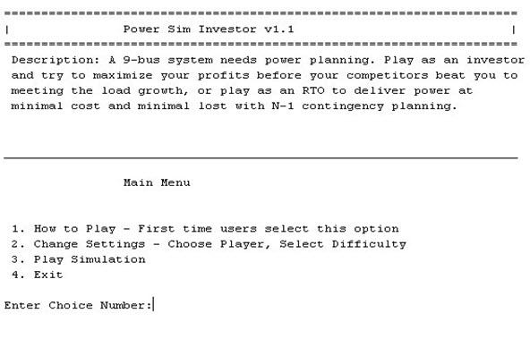 Power Sim Investor Main Menu