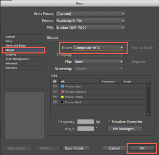 Be sure the file will be in color! Choose Color: Composite RGB. Click OK when you're done.