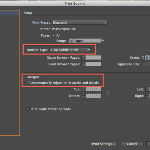 Check these settings. Saddle Stick and Inherit Bleed.