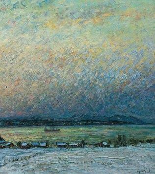 """Peinture de Raynald Leclerc intitulée """"Entre deux caps se berce une île"""", partie de droite (2/2)."""