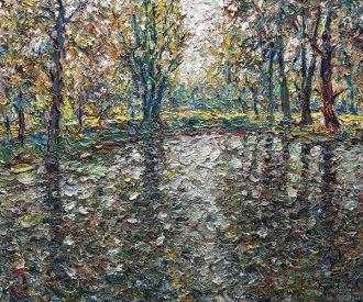Des arbres dans l'eau - 30x36