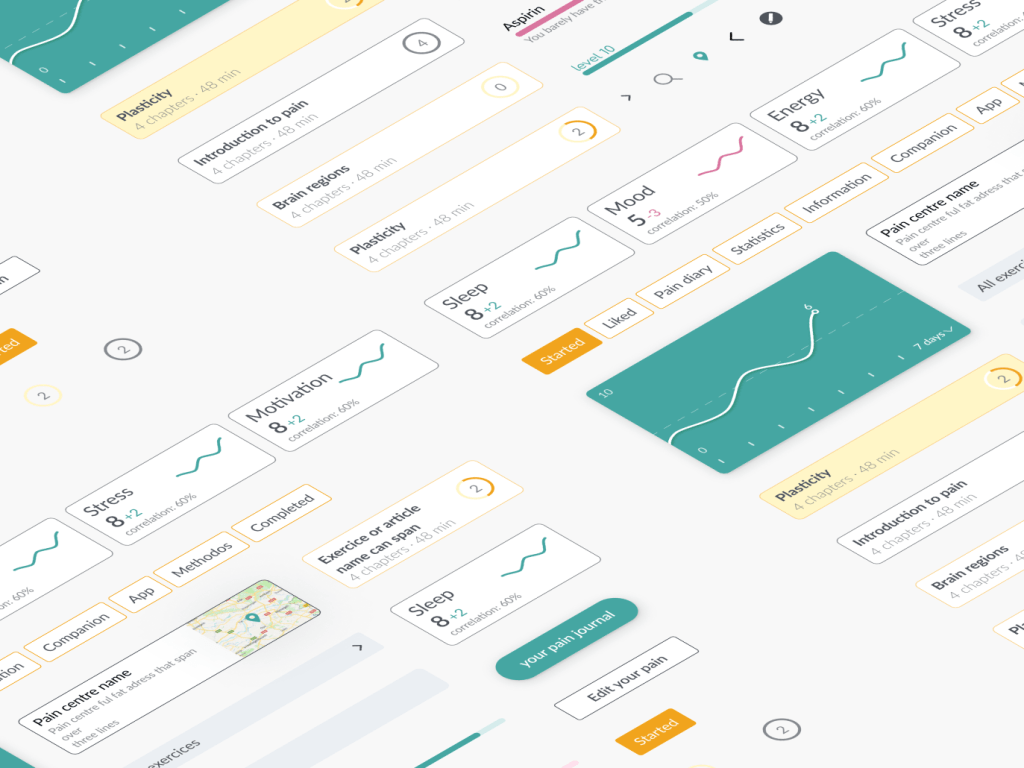 design system with components made for pain application