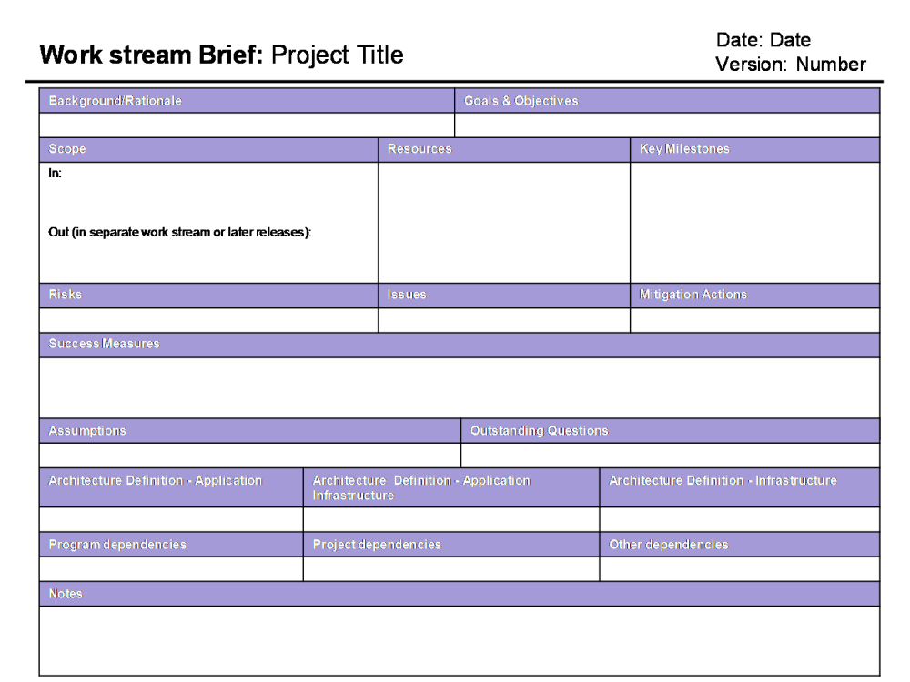 The work stream brief a planning cure all?