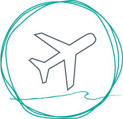Porth logo outline of a hand-drawn circle in turquoise with a wave cutting through. In the centre is the image of an aeroplane in grey.