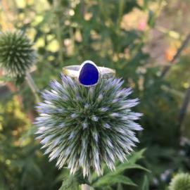deep blue seaglass ring - Marazion, Cornwall.