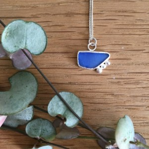 Blue pebble seaglass necklace beach-combed at Gyllyngvase beach, Falmouth.