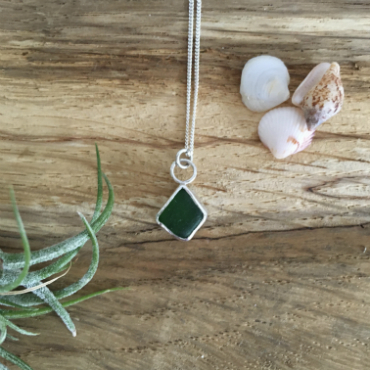 Green diamond-shaped Seaglass Necklace from St Austell Bay.