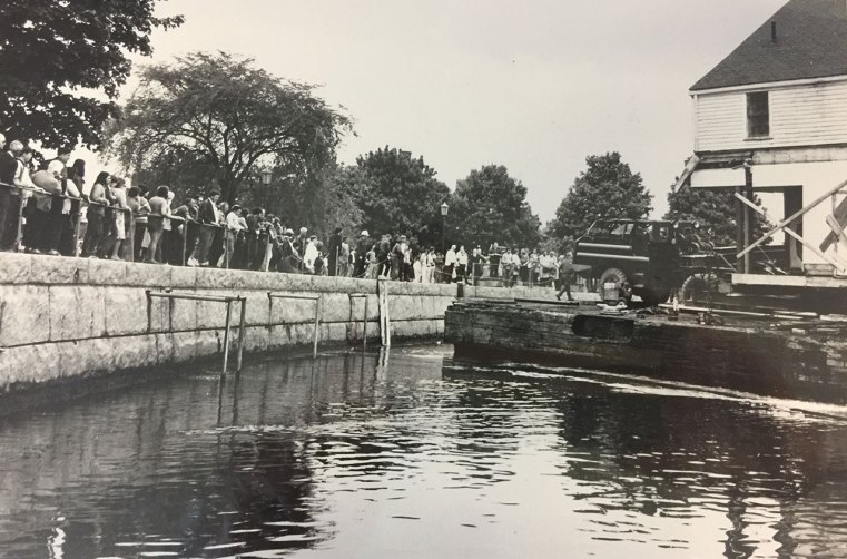 Joshua Wentworth house was moved in 1973, partially by water down the Piscataqua River on to a landing at Prescott Park in the South End.