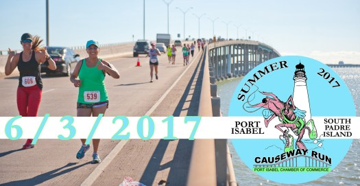 JUNE 3: Online registration is NOW OPEN for the 3rd Annual Summer Longest Causeway Run & Fitness Walk June 3rd, 2017. http://bit.ly/2017-summerrun. Register before May 23rd & take advantage of our early bird registration fees: $25-5k walk, $30- 10k run, $15 for students & military with ID. Both courses start at Schlitterbahn on South Padre Island, cross the historic Queen Isabella Causeway and end in Port Isabel. Every participant to cross the finish line will receive a medal. T-Shirts are guaranteed to the first 1,000 participants to check in.