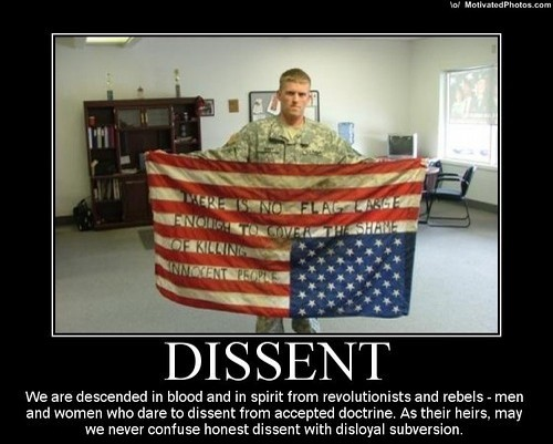 In case the reader doesn't immediately interpret the image as depicting dissent, MotivatedPhotos.com offers this motivational poster spelling it out.