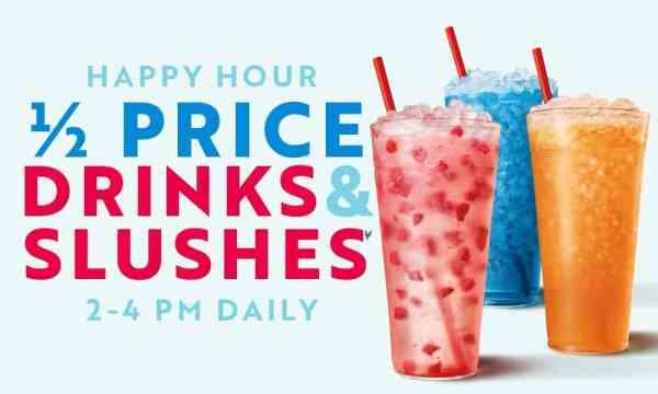 sonic happy hour half price drinks and slushes