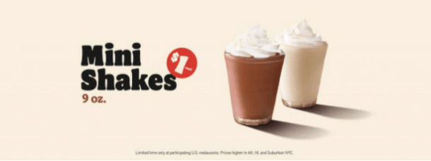 mini shakes burger king