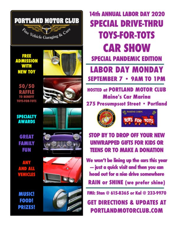 14th Annual Labor Day SPECIAL DRIVE-THRU Toys-for-Tots Car Show. Monday, September 7, 2020