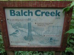 By the bridge is a little sign about Balch Creek.