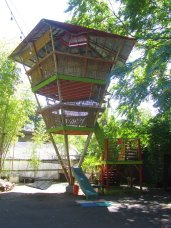 Big tree house out of bamboo. I am not sure how it stays up but it does and you can go into it.