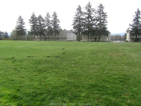 Looking across the parade field to the headquarters and the infantry barracks.