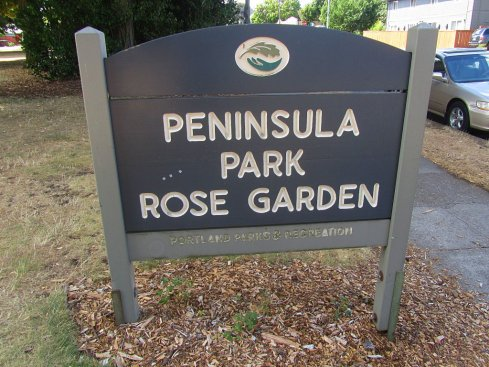 Sign for the Peninsula Park Rose Garden. This was the first public rose garden in Portland.