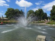 The water fountain is a center focus of the garden.