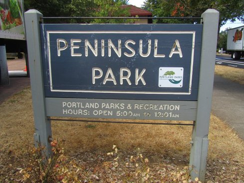 Sign at Peninsula Park