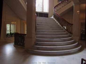Grand Staircase leading to the upstairs bedrooms. There is a smaller staircase by the kitchen for the servants.