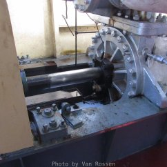 The large steam piston that drive the paddle wheel.