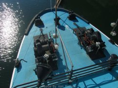 Looking down on the large winches on the bow.