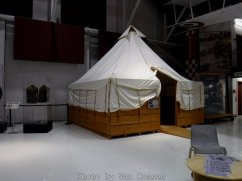 A replica of a tent used to house working troops at the spruce lumber mill.