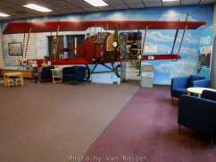 You enter the reception area with a large plan painted on the wall.