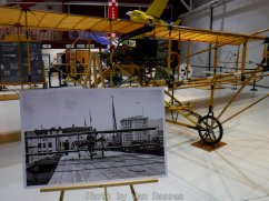 A photo show an original Curtiss Pusher on the roof the Multnomah Hotel and the museums replica behind it.