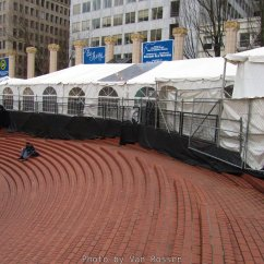 The empty Square is transformed in December for the Holiday Ale Festival.