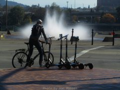 Not that seeing some one on a bike or now seeing e-scooters is unusual but seeing the fountain running is.