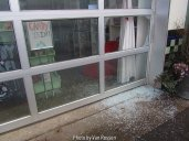 I found a window broken out on a business. They had unwanted visitors the night before. Increase crime is one of the elements that can doom a neighborhood renewal.