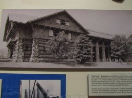 Billed as the largest log cabin in the world. First built for the Lewis and Clarke Exposition and relocated to Washington Park to be the Forestry Museum.
