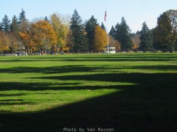 Central to the Vancouver Barracks it the parade field.