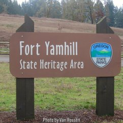 Entry sign at Fort Yamhill State Heritage Area.