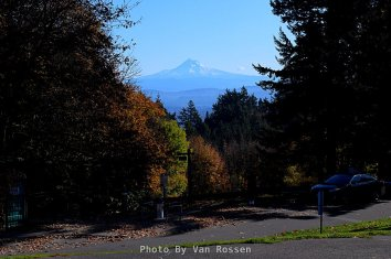 On a clear day Mt. Hood can be seen from the observation circle at Council Crest Park