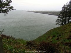 View from the Lewis and Clark Interpretive Center out to the north jetty of the Columbia River.